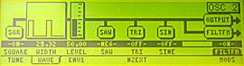 Stránka oscilátoru, napravo se zapíná FM modulace od filtru